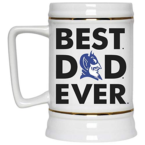 Best Dad Ever Beer Mug, Duke Blue Devil Logo Beer Stein 22oz, Birthday gift for Beer Lovers (Beer Mug-White)