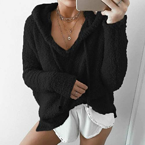 Autumn and Winter Women's Mohair Casual Pullover Sweater Long Sleeve Hooded Drawstring Coat Solid Color Wild Top