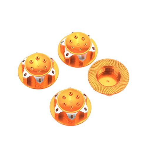 TOOGOO(R) 4Pcs RC Buggy 1/8 Scale 17mm Dust Lock Nuts Adapter for RC Off-Road Truck Redcat LOSI Team-C Wheel and Rims Nut (Orange) -