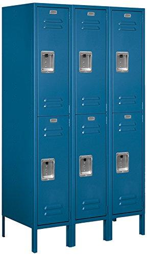 Salsbury Industries Assembled 2-Tier Standard Metal Locker with Three Wide Storage Units, 5-Feet High by 18-Inch Deep, ()