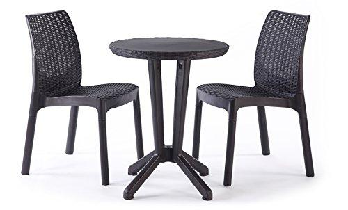 Keter Bistro 2 Seater Rattan Outdoor Garden Furniture Set - Graphite