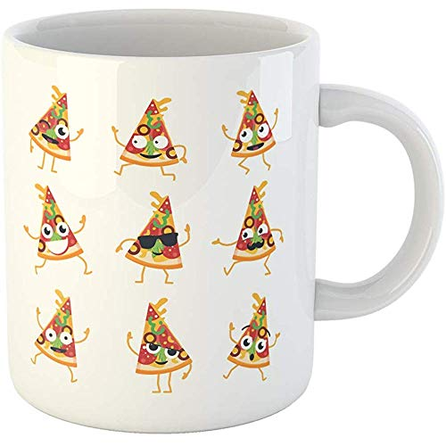 Personalized 11 Ounces Funny Coffee Mug Pizza Cartoon Character Modern of Mascot Images Slice Dancing Ceramic Coffee Mugs Tea Cup Souvenir