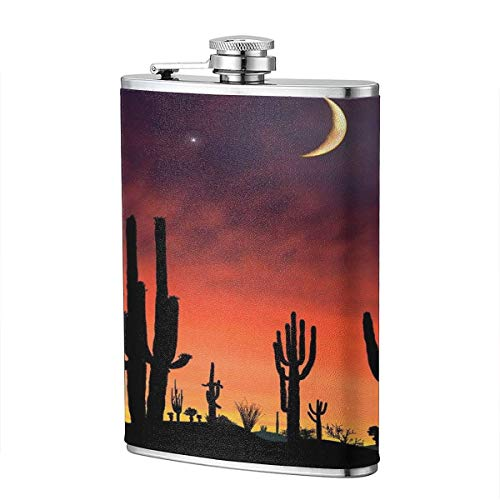Prickly Pear In The Moonlight 8 Oz Portable Stainless Steel Liquor Bottle Pocket Flagon For Wine Alcohol Pocket Flagon Whiskey Container - Pear Brandy Bottle