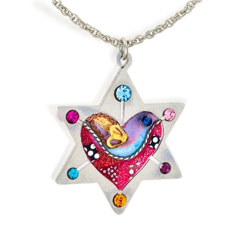 The Artazia Collection Seeka Star of David with Heart and Dove Judaic Love and Peace Necklace ()