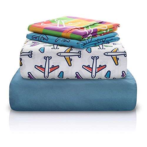 Chital Twin Bed Sheets for Boys | 4 Pc Kids Bedding Set | Airplane Print | 1 Flat & 1 Fitted Sheet, 2 Pillow Cases | Durable Super-Soft, Double-Brushed Microfiber - Airplane Kids Bedding