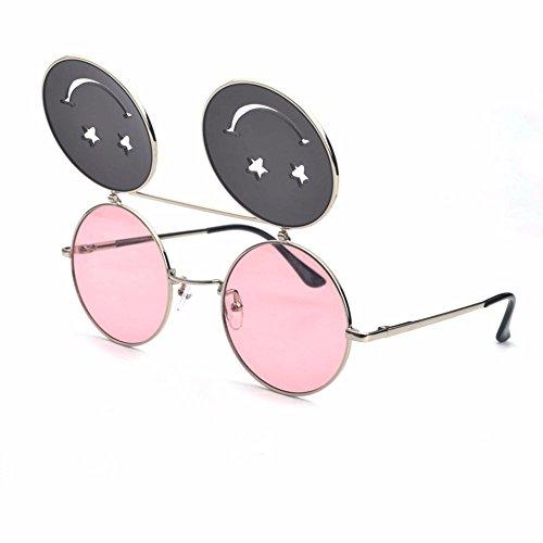 Rosa Gafas la de Sol Sonriendo Liuxc Filetes Rosado Calle de de sol Cara Gafas w7qwBpX