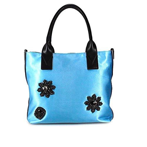 Pinko Damen 1H20DNY4CGE42 Hellblau Stoff Handtaschen