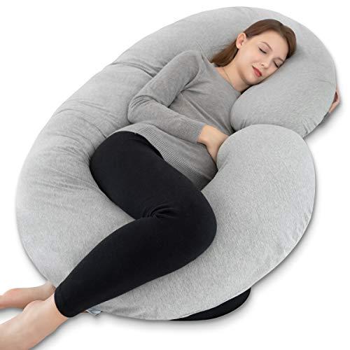 INSEN Full Body Pregnancy Pillow, Maternity Pillow for Pregnant Women,C Shaped Body Pillow w/100% Jersey Body Pillow Cover
