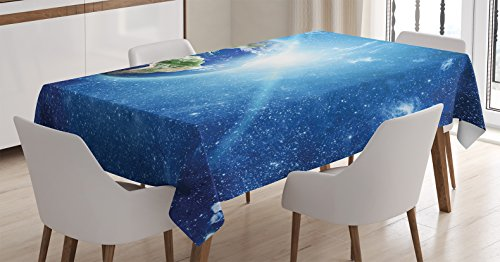 9880 Light - Ambesonne Outer Space Decor Tablecloth, Planet Earth Space Picture with Clear View of Continents Oceans Clouds Sunlights, Dining Room Kitchen Rectangular Table Cover, 60 X 84 inches