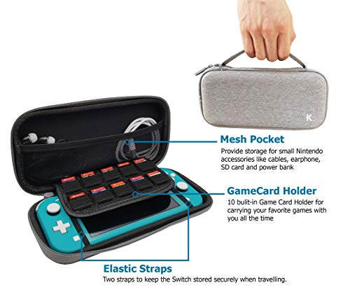 PUZZLEK Slim Carrying Case for Nintendo Switch Lite, Portable Protective Hard Shell Travel Case for Switch Lite Console & Accessories, 10 Game Cartridge - Gray…