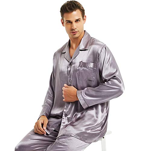 (Mens Silk Satin Pajamas Set Sleepwear Loungewear Gray XL)