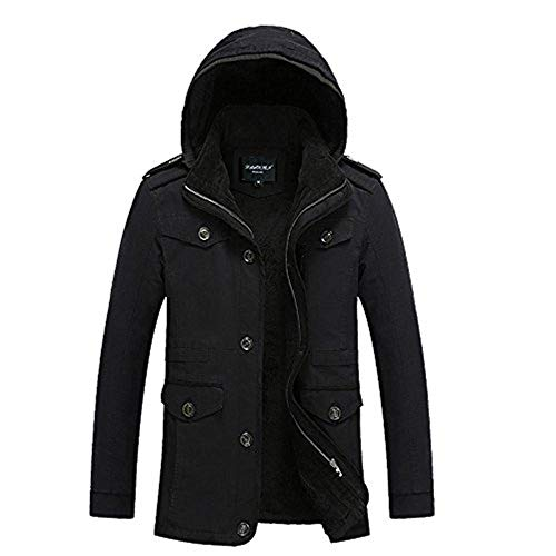 Lunga Lunga Lunga Manica Vento Outdoor Plus Coat Coat Coat Coat da Jacket Schwarz Giacca Lana Uomo Maglione Button di Giacca A A Cerniera Unico Capispalla con Vento xOwHqw7P