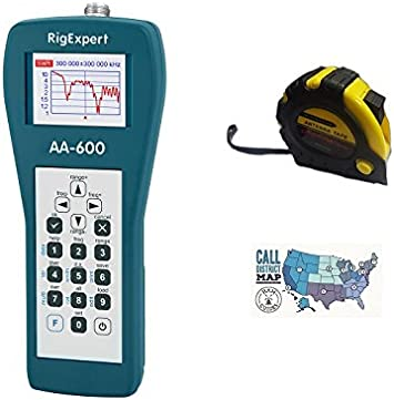 Bundle – 3 Items – Includes RigExpert AA-600 Antenna Analyzer 0.1 up to 600MHz with the New Radiowavz Antenna Tape 2m – 30m and HAM Guides Quick Reference Card