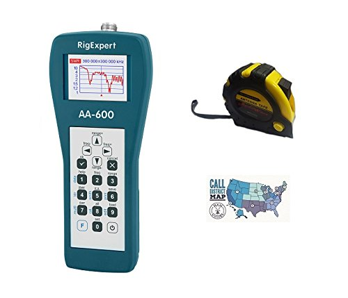 Cheap Bundle – 3 Items – Includes RigExpert AA-600 Antenna Analyzer 0.1 up to 600MHz with the New Radiowavz Antenna Tape (2m – 30m) and HAM Guides Quick Reference Card