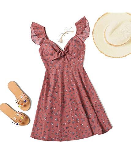 (Women Sweetheart V Neck Sleeveless High Waist Boho Ditsy Floral Knot Neck Ruffle Trim Summer Dress,Pink,S)