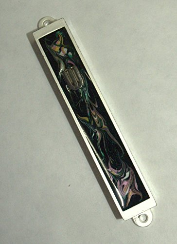 Judaica Mezuzah Case Black Pink Colorful Decorative Retro Stripe Silver SHIN 7cm by Collecting Trends