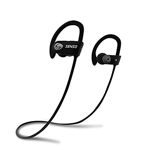 SENSO Bluetooth Headphones Wireless Sports Earphones - w/ Mic, IPX7 Waterproof, HD Stereo Sweatproof Earbuds, for Gym Running Workout, 8 Hour Battery, Noise Cancelling (Bluetooth Headset With Ear Buds)