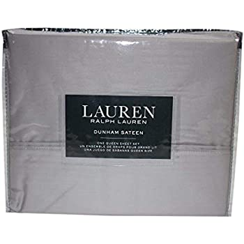 Lauren Queen Dunham Sateen Silver Sheet Set
