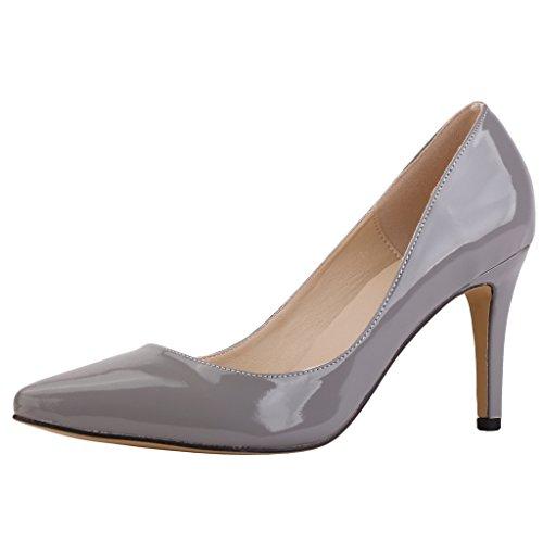 Ochenta mujer de la PU de cuero de patente los zapatos del partido de boda de la manera clasica Gris