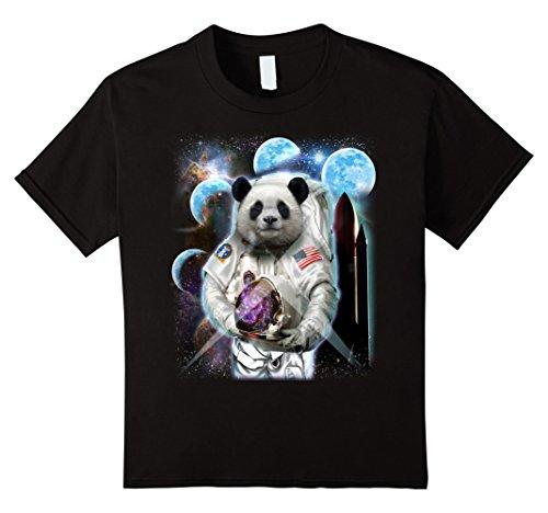 Kids T-Shirt, Giant Panda in Astronaut Suit, Space Shuttle Moon 12 Black