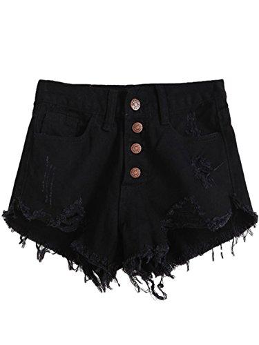(MAKEMECHIC Women's Frayed Raw Hem Ripped Distressed Denim Shorts Black##)
