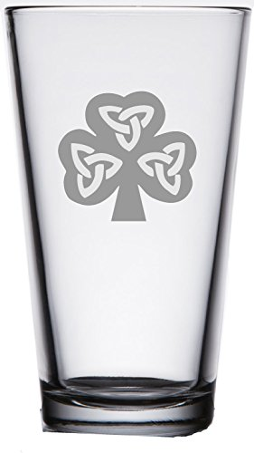 IIE Laserware rish Shamrock Pub Pint Beer Glass 16oz - Heavy Bottom - Unique Gift- Housewarming, Wedding - Birthday or add to your own bar ()