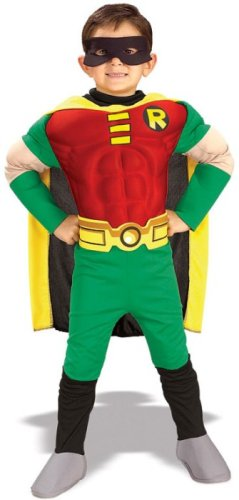 Kids Childrens Costume Batman Robin Boys Outfit Muscle Chest Jumpsuit Boot Tops Eye mask Cape (Batman Outfit Child)