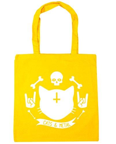 HippoWarehouse gatos y Metal Tote Compras Bolsa de playa 42cm x38cm, 10litros amarillo