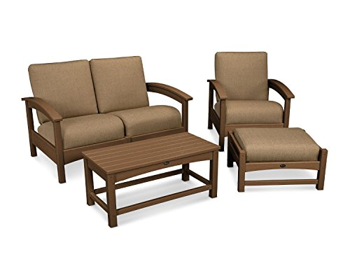 (Trex Outdoor Furniture Rockport 4-Piece Deep Seating Conversation Group in Tree House / Sesame)