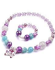 Unicorn Pendant Jewelry Sets,Toddler Girls Unicorn Necklace Bracelet,Little Girls Chunky Bubblegum Beads with Unicorn