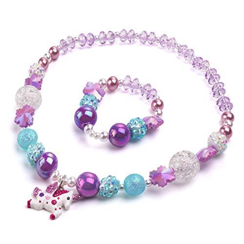Bling Bling Unicorn Chunky Bubblegum Necklace, Unicorn Fashion Beads and Bracelet Set, Kids Toddler Dress Up Jewelry-Style1 (Style 1)