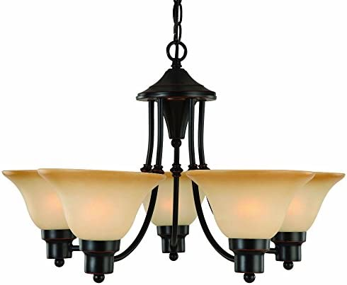 Hardware House Bristol Series 5 Light Oil Rubbed Bronze 24 Inch by 15 Inch Chandelier Ceiling Lighting Fixture 16-8885