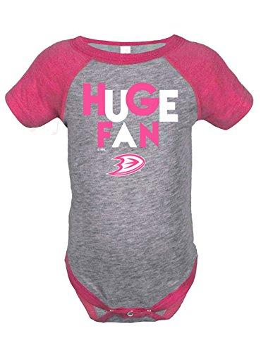 NHL Anaheim Ducks Girls Infant Onesies, 12 Months, Heather Grey/Hot Pink