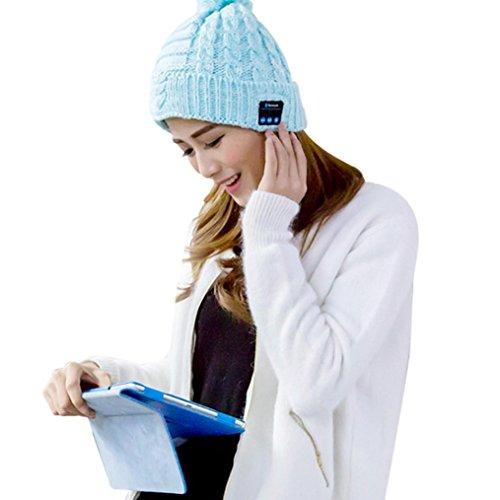 Elevin(TM)Men Soft Hat Wireless Bluetooth Smart Cap Headset Headphone Speaker Mic (Knob Cashmere)