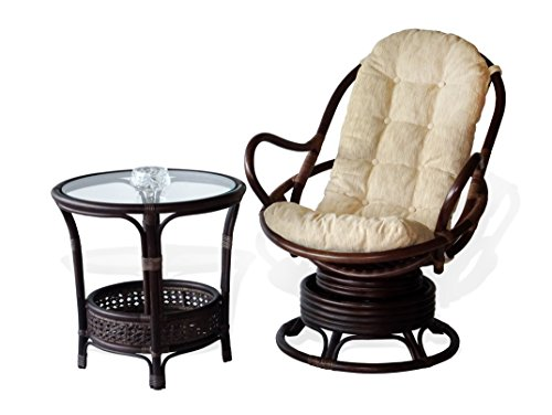 SunBear Furniture Lounge Set of Swivel Rocking Java Chair Natural Rattan Wicker Handmade with Cream Cushions and Round Coffee Table w/Glass, Dark Brown