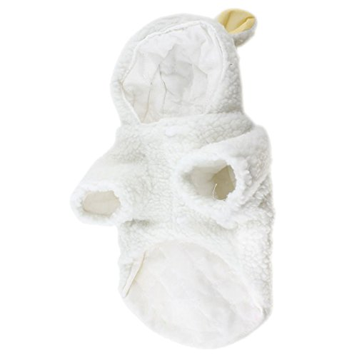 Pet lovely clothes - SODIAL(R) White Sheep Design Press Stud Button Pet Dog Poodle Coat Costume L -