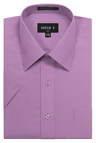 URBAN K Men's Classic Fit Solid Formal Collar Short Sleeve Dress Shirts (Big And Tall Formal Wear)