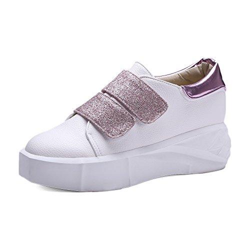 AgooLar Damen Mittler Absatz Rein Haken-und-Loop Blend-Materialien Rund Zehe Pumps Schuhe Pink
