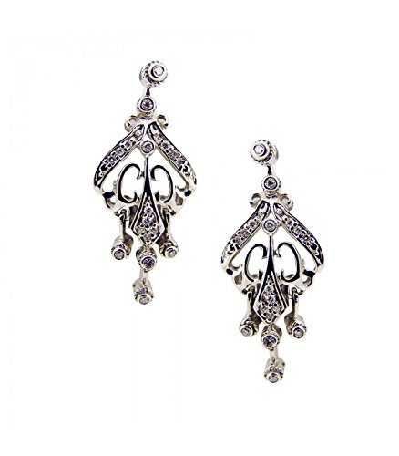 Boucles d'oreilles en or blanc avec diamants taille brillant r-35.2C