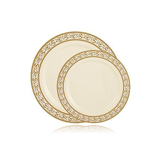 Posh Setting Premium Collection Combo Pack China Look Cream/Gold Plastic Plates,(Includes 4 Packs of 10 Plates, 20 10.25'' Dinner Plates and 20 7.25'' Salad Plates), Fancy Disposable Dinnerware (40)