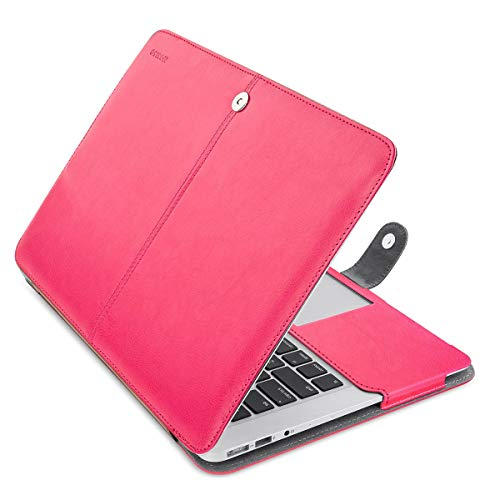 MOSISO Case Only Compatible with MacBook Air 13 Inch A1466 / A1369 (Older Version Release 2010-2017), Premium PU Leather Book Folio Protective Stand Cover Sleeve, Rose Red