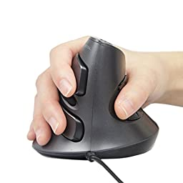 J-Tech Digital Scroll Endurance Wired Mouse Ergonomic Vertical USB Mouse with Adjustable Sensitivity (600/1000/1600 DPI), Removable Palm Rest & Thumb Buttons - Reduces Hand/Wrist Pain (Wired)