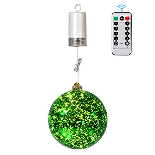 """YULETIME 6"""" Hanging LED Lighted Mercury Ball Lights, Fairy Dust Sphere Light, Remote Control Battery Operated Christmas Ornaments Lights Mercury Glass Gazing Globes Lights for Home Decor (6"""" Green)"""