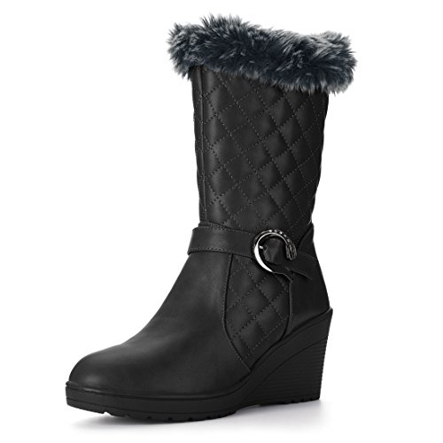 Allegra Boot (Allegra K Women's Plush Quilted Wedge Heel Mid-Calf Boots (Size US 7) Black)