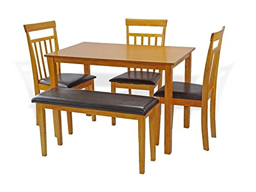 Height Maple Finish Dining Table (Dining Kitchen Set of 5: Rectangular Table and 3 Wood Chairs Warm 1 Stained Bench in Maple Finish)