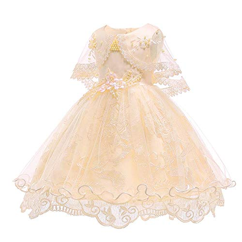 SOVIKER Girls Princess Gowns Party Formal Dance Evening Dress Embroidery Tulle Lace Flower Princess-1152-Champagne-120 -