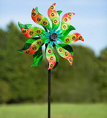 - Plow & Hearth Solar Sunflower Gems Wind Spinner - 24 L x 12 W x 75 H