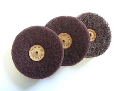 SATIN FINISH BUFFS MATT FINISHING WHEELS 4'' 2 PLY BUFF ALUMINUM OXIDE SET 3 Pcs (E 4) by Novel