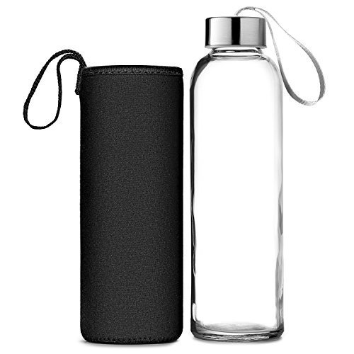 Chef's Star Glass Water Bottle 6 Pack 18oz Bottles for Beverages and Juicer  Use Stainless Steel Leak Proof Caps with Carrying Loop - Including 6 Black