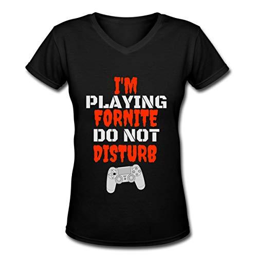 I'm Playing FORNITE DO NOT Disturb Women's V-Neck Shirts Short Sleeve Tees Black